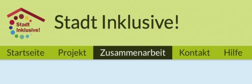"""Screenshot der Menüleiste mit der angewählten Unterseite """"Zusammenarbeit"""" auf der Webseite www.stadt-inklusive.de"""