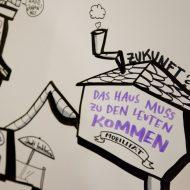 """Graphic Recording mit einem Haus, das läuft. Darin steht in lilafarbener Schrift """"Das Haus muss zu den Leuten kommen"""""""