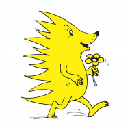 Logo des TÄKS e.V. - ein gezeichneter gelber Igel mit einer Blume in der Hand