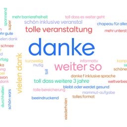 Screenshot des Feedback-Mentimeters mit vielen bunten Worten auf weißem Hintergrund. Die größten sind: danke, weiter so, tolle veranstaltung.