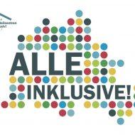 """Berlinkarte aus vielen bunten Punkten und dem Schriftzug """"Alle Inklusive!"""" Links in der Ecke das Logo von """"Stadtteilzentren inklusiv!"""""""